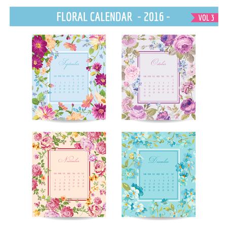 sweet: Floral Calendar - 2016 - with Vintage Flowers - in vector : volume 3 Illustration