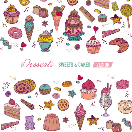 cookies and cream: Colorful Card or Brochure - with Cakes, Sweets and Desserts - in vector