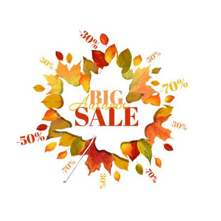 autumn leaves background: Autumn Sale - Colorful Autumn Leaves Background - in vector