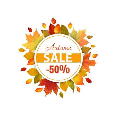 Autumn Sale - Kleurrijke herfst bladeren achtergrond - in vector