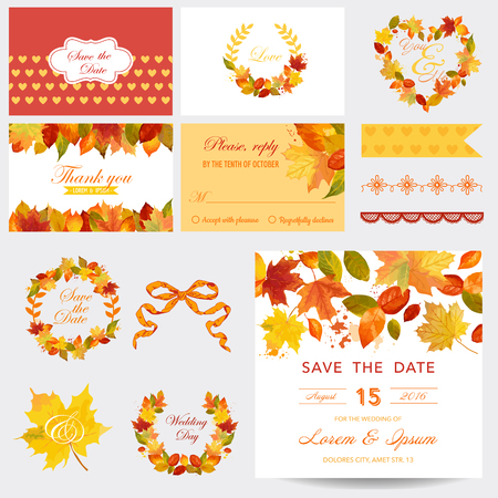 Lbum de recortes elementos de diseño - Autumn Leaves Theme - boda o ducha de bebé Set- en vector Foto de archivo - 45163216