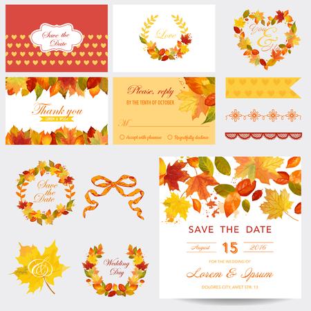 felicitaciones: Álbum de recortes elementos de diseño - Autumn Leaves Theme - boda o ducha de bebé Set- en vector Vectores