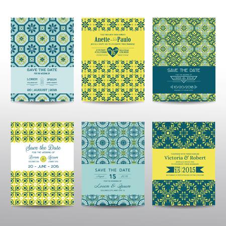 aniversario de boda: Ahorre la fecha - invitación de la boda Tarjetas Set - Estilo Vintage - en vector