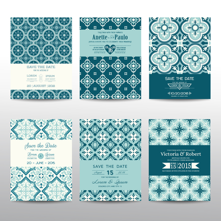 wedding invitation vintage: Save the Date - Wedding Invitation Cards Set - Vintage Style - in vector