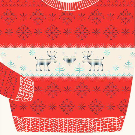 traditional parties: Christmas Ornamental Sweater - Ugly Party Sweater - in vector