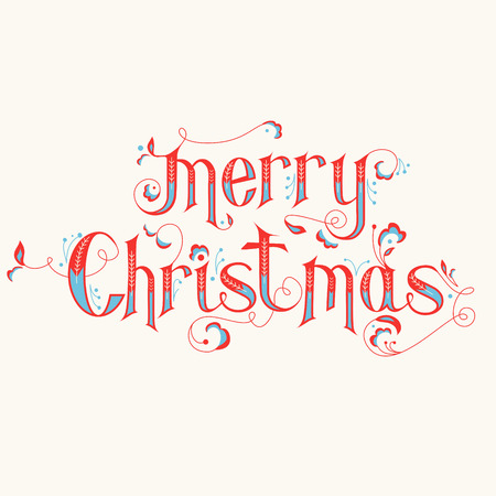 Vintage Christmas Calligraphy Card - Merry Christmas Lettering - in vector Vettoriali