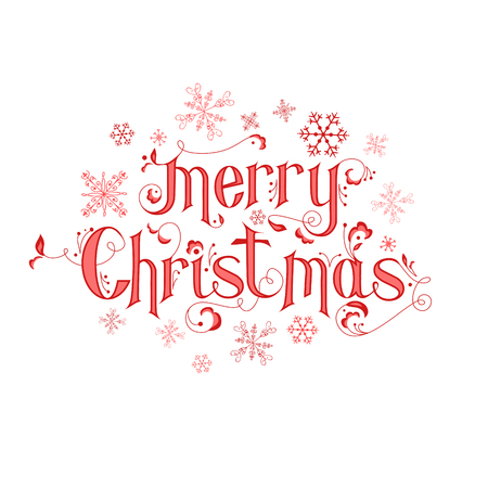 Calligraphy Vintage Christmas Card - Merry Christmas Lettering - in vector