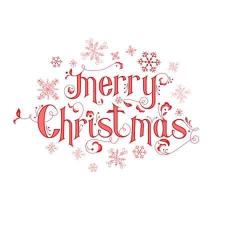 Kalligráfia Vintage Christmas Card - Merry Christmas betűk - vektor