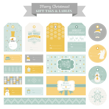 wear mask: Christmas Retro Snowman Set - Tags, Labels, Cards, Banners - in vector Illustration