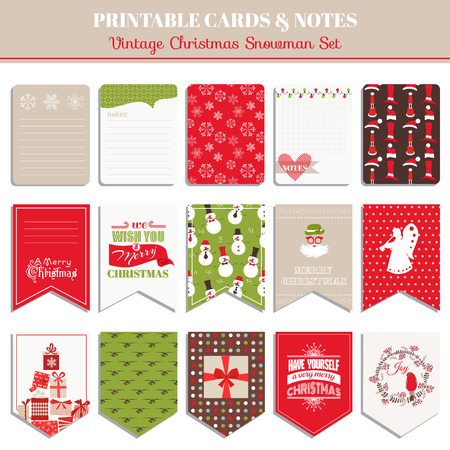 retro christmas: Christmas Retro Set - tags, cards, banners, labels, - in vector Illustration