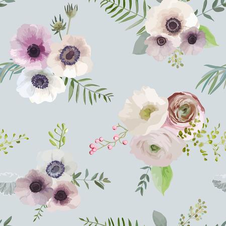 seamless floral: Vintage Floral Background - seamless pattern - in vector Illustration