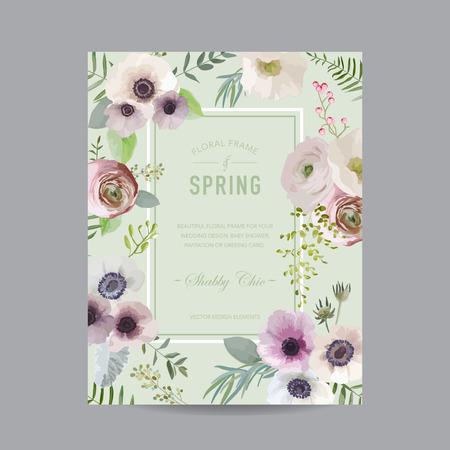 -招待状、結婚式、ベビー シャワー カード - ベクトルのビンテージ花のフレーム  イラスト・ベクター素材
