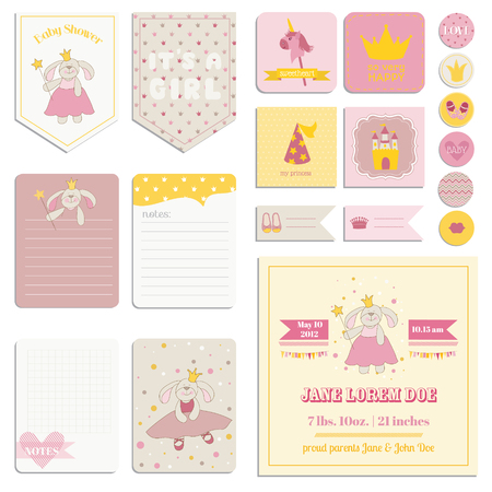 vintage invitation: Baby Shower Girl Set - Tags, Banners, Labels, Cards - in vector