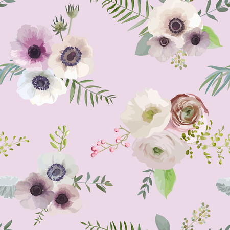 baby background: Vintage Floral Background - seamless pattern - in vector Illustration