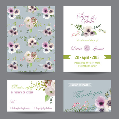 the spouse: Invitation or Greeting Card Set - for Wedding, Baby Shower - in vector Illustration