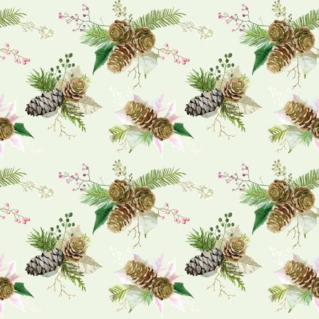 scrap: Vintage Christmas Background - Seamless Pattern - vector