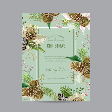 retro christmas: Christmas Frame or Card - in Watercolor Style - vector Illustration
