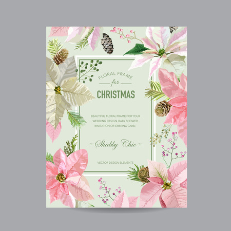 poinsettia: Christmas Frame or Card - in Watercolor Style - vector Illustration