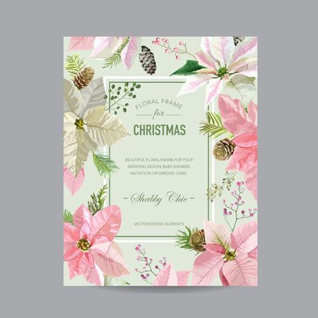 flor de pascua: Marco de la Navidad o de la tarjeta - en acuarela Estilo - vector