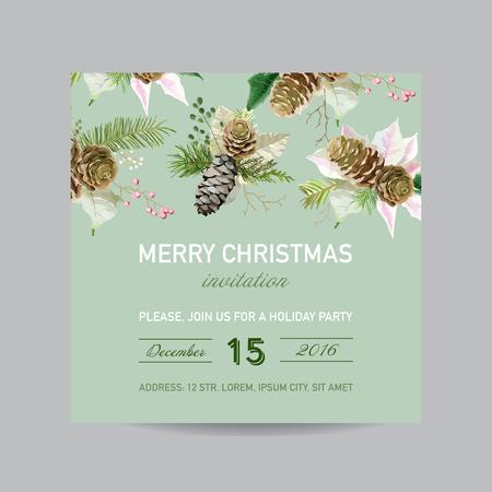 크리스마스 초대 카드 - 수채화 스타일 - 벡터 일러스트