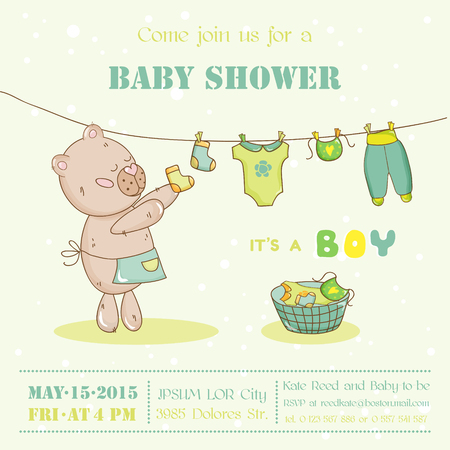 arrival: Baby Shower or Arrival Card - with Mommy Bunny - in vector Illustration