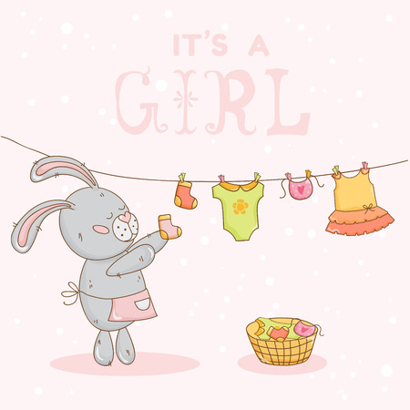 baby boy birth: Baby Shower or Arrival Card - with Mommy Bunny - in vector Illustration