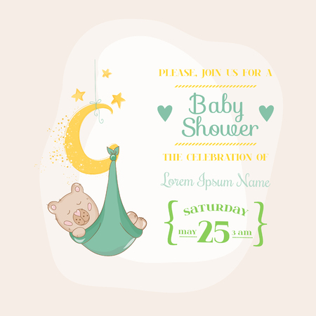 baby boy announcement: Baby Shower or Arrival Card - with Baby Bear on the Moon- in vector Illustration