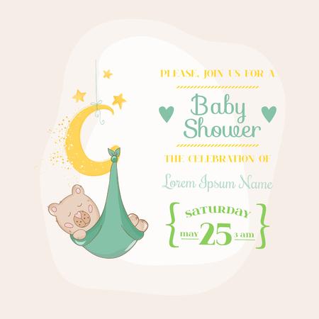 Ducha de bebé o tarjeta de llegada - con el oso del bebé en la Luna- en vector