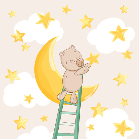 baby bear: Baby Shower or Arrival Card - with Baby Bear with Stars - in vector Illustration