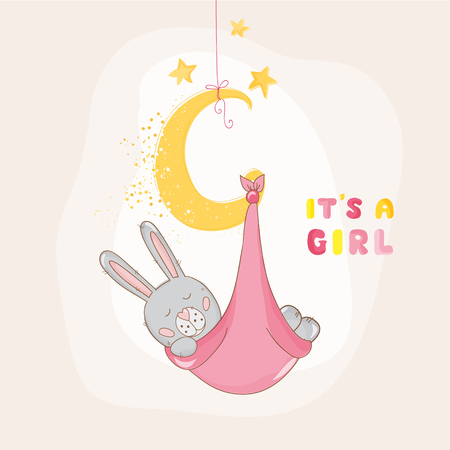 bunny girl: Baby Shower or Arrival Card - with Baby Bunny - in vector