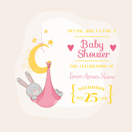baby boy announcement: Baby Girl Shower or Arrival Card - with Baby Bunny - in vector