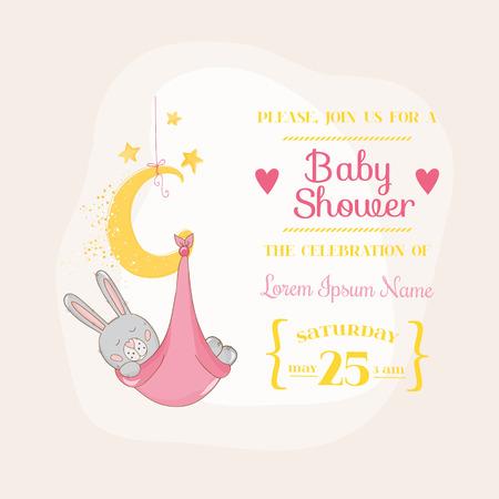 Ducha de la niña o la llegada de tarjetas - con el conejito del bebé - en el vector Ilustración de vector