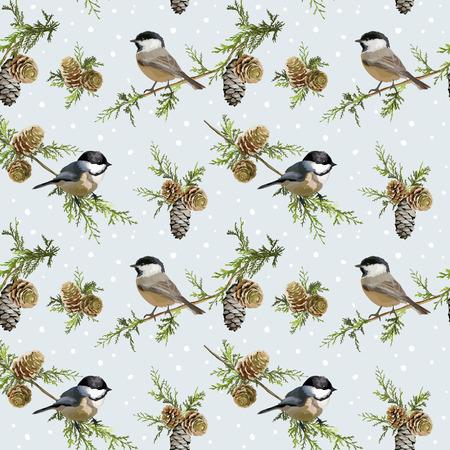 Зимние птицы ретро фон - Бесшовные шаблон - в вектор Иллюстрация