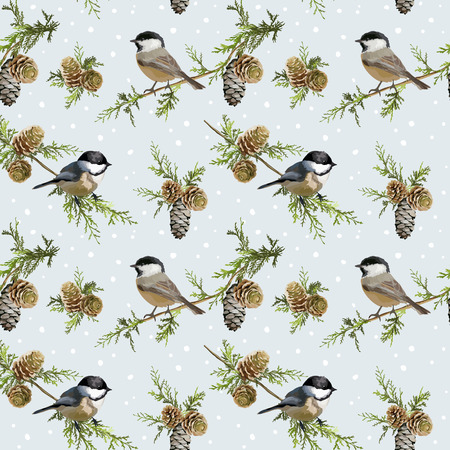 Winter Birds Retro Background - Seamless Pattern - in vector Çizim