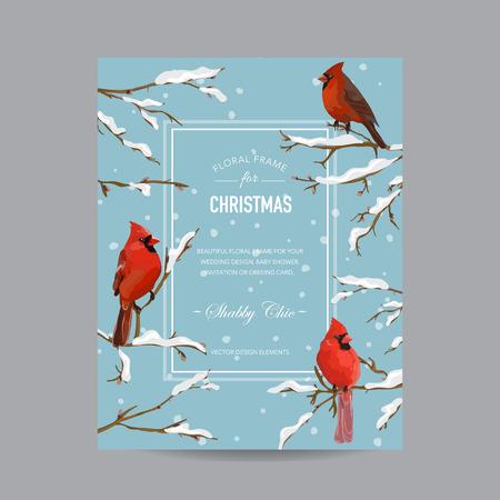 冬の鳥フレームまたはカード - 水彩スタイル - ベクトル  イラスト・ベクター素材