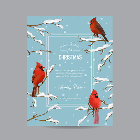 winter tree: Winter Birds Frame or Card - in Watercolor Style - vector