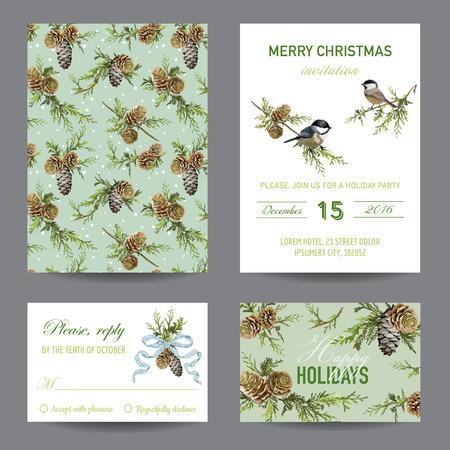 arbol de pino: Invitación o tarjeta de Navidad Conjunto de tarjeta - en el vector