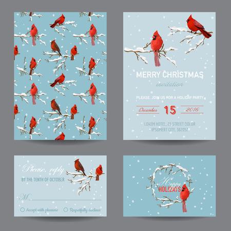 navidad elegante: Aves de Navidad de invierno - tarjeta de invitación o felicitación Set - en el vector