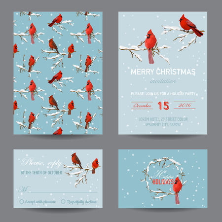 retro christmas: Christmas Winter Birds - Invitation or Greeting Card Set - in vector