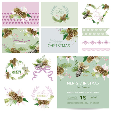 christmas theme: Scrapbook Design Elements - Christmas Theme - in vector Illustration