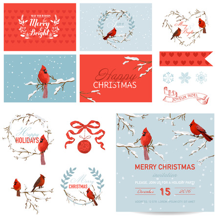 scrapbook cover: Scrapbook Design Elements - Vintage Christmas Birds Theme - in vector