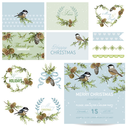scrap: Scrapbook Design Elements - Christmas Theme - in vector Illustration
