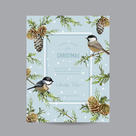Winter Birds Frame or Card - in Watercolor Style - vector