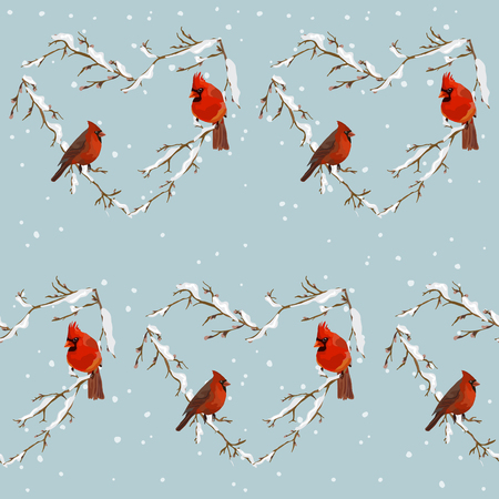 heart month: Winter Birds Retro Background - Seamless Pattern - in vector Illustration
