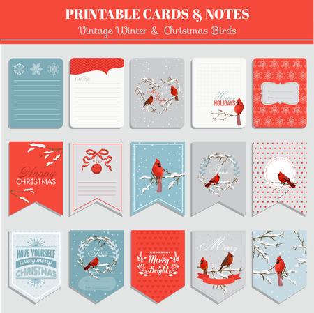 ferraille: Cartes imprimables, étiquettes et les étiquettes - Oiseaux d'hiver de Noël thème - dans le vecteur Illustration