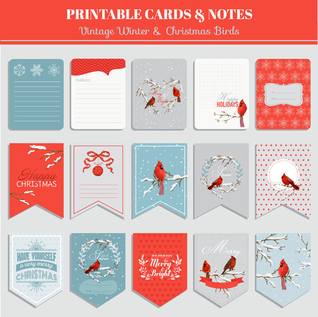 scrap: Printable Cards, Tags and Labels - Christmas Winter Birds Theme - in vector
