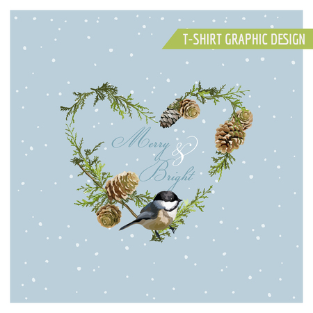 pinecone: Christmas Winter Birds Graphic Design - for t-shirt, fashion, prints - in vector