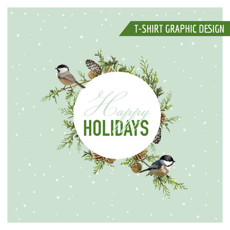 christmas spirit: Christmas Winter Birds Graphic Design - for t-shirt, fashion, prints - in vector