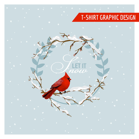 shabby: Christmas Winter Birds Graphic Design - for t-shirt, fashion, prints - in vector