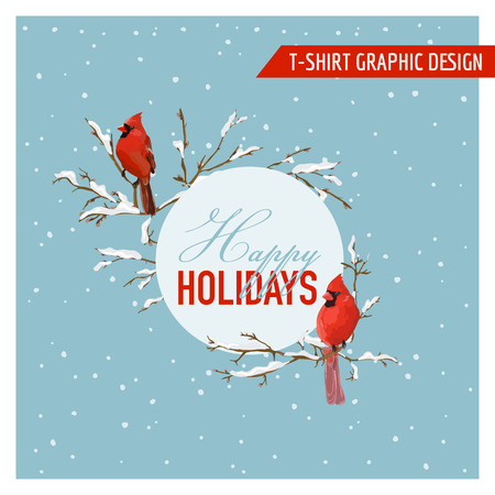 christmas spirit: Christmas Winter Birds Graphic Design - for t-shirt, fashion, prints Illustration